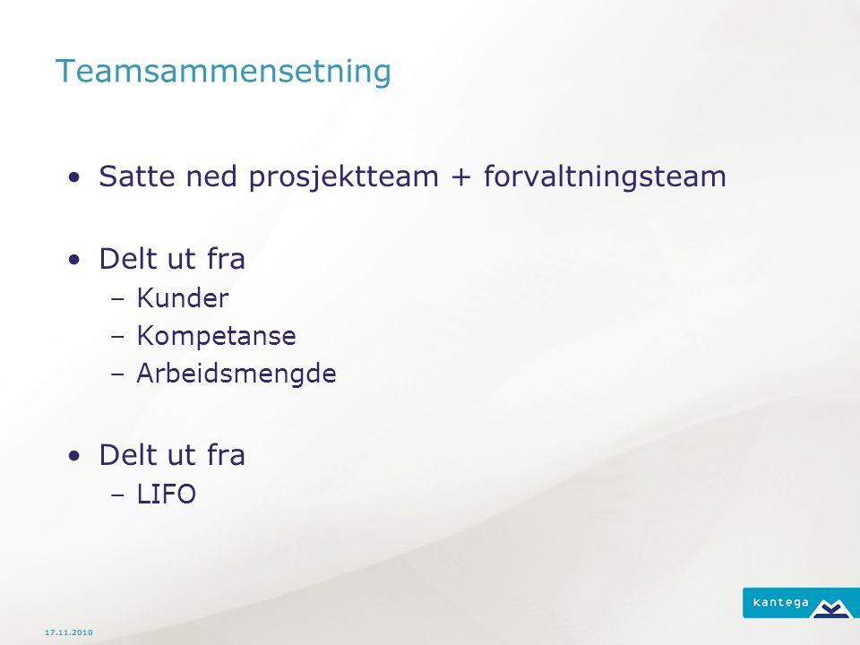 Teamsammensetning Satte ned prosjektteam + forvaltningsteam Delt ut fra –Kunder –Kompetanse –Arbeidsmengde Delt ut fra –LIFO 17.11.2010