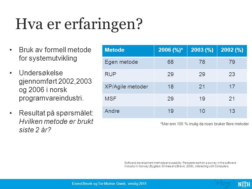 Er prosjektene vellykket? Eivind Brevik og Tor-Morten Grønli, smidig 2011