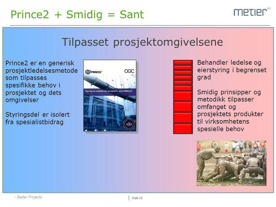 - Better Projects Side 10 Prince2 + Smidig = Sant Tilpasset prosjektomgivelsene Prince2 er en generisk prosjektledelsesmetode som tilpasses spesifikke