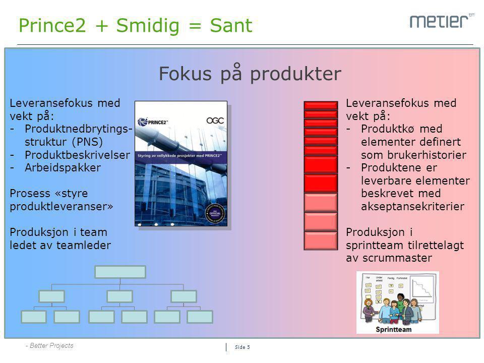 - Better Projects Side 5 Prince2 + Smidig = Sant Fokus på produkter Leveransefokus med vekt på: -Produktkø med elementer definert som brukerhistorier