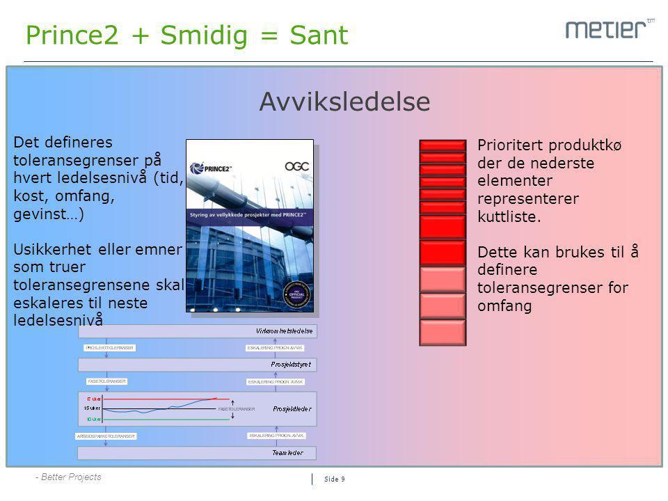 - Better Projects Side 9 Prince2 + Smidig = Sant Avviksledelse Prioritert produktkø der de nederste elementer representerer kuttliste. Dette kan bruke