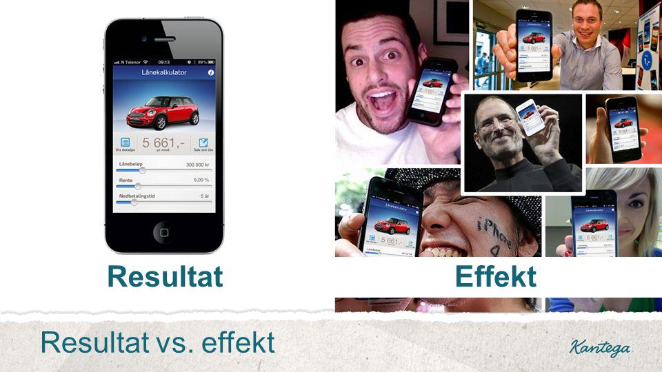 EffektResultat Resultat vs. effekt