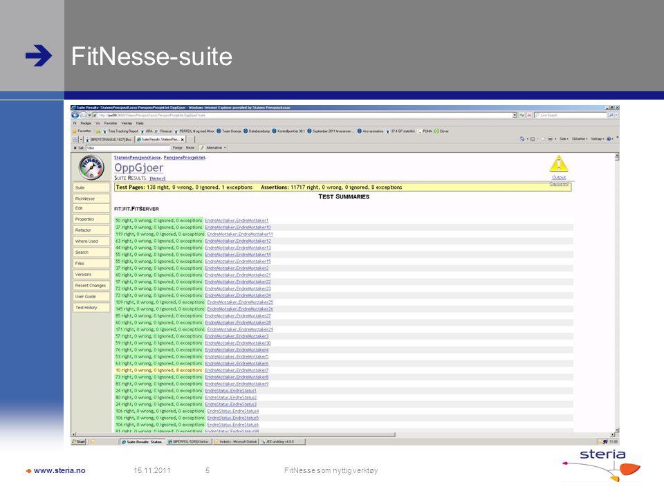  www.steria.no  FitNesse-suite 15.11.2011 FitNesse som nyttig verktøy 5
