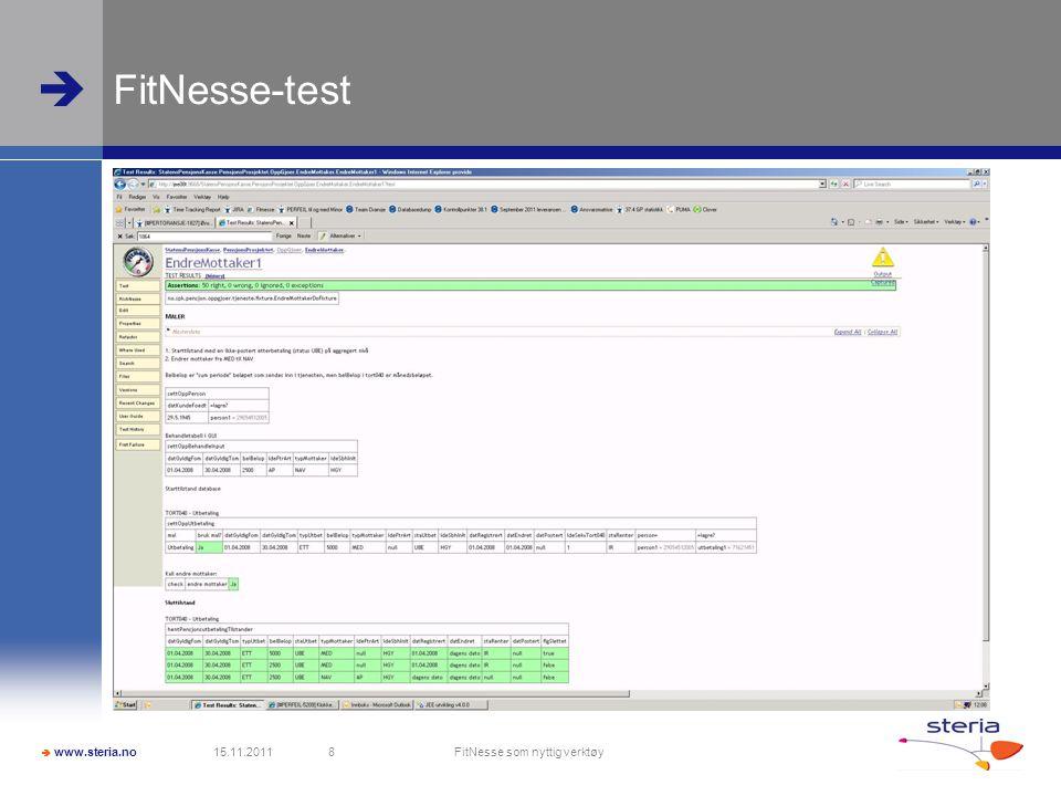  www.steria.no  FitNesse-test 15.11.2011 FitNesse som nyttig verktøy 8