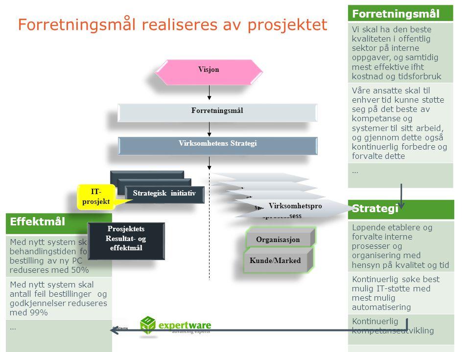 Forretningsmål realiseres av prosjektet Strategi Løpende etablere og forvalte interne prosesser og organisering med hensyn på kvalitet og tid Kontinue