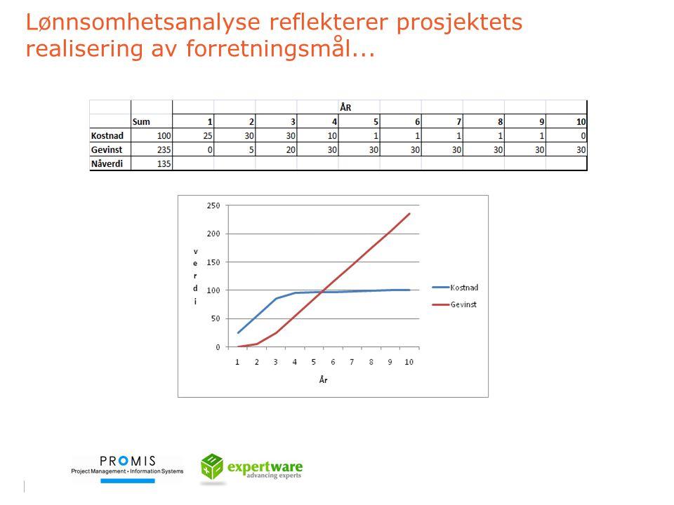 Lønnsomhetsanalyse reflekterer prosjektets realisering av forretningsmål...