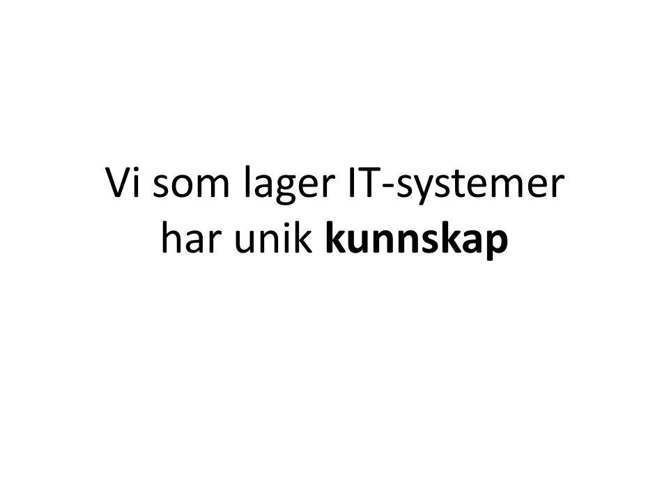 Vi som lager IT-systemer har unik kunnskap
