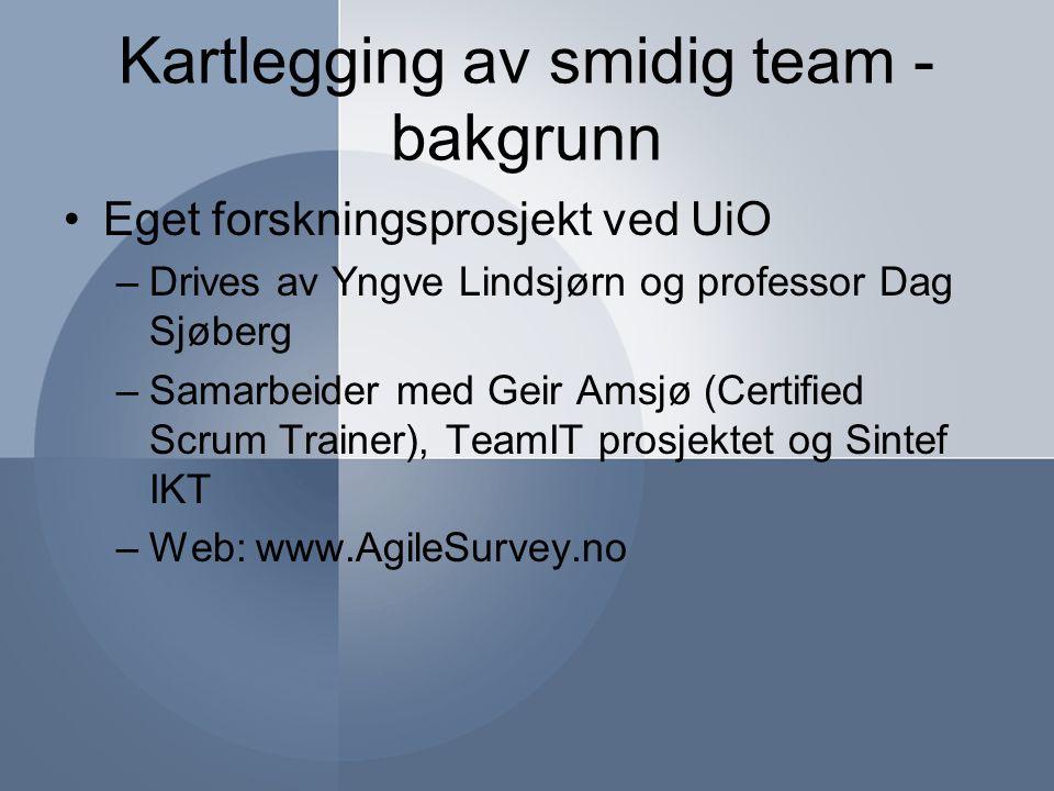 Kartlegging av smidig team - bakgrunn Eget forskningsprosjekt ved UiO –Drives av Yngve Lindsjørn og professor Dag Sjøberg –Samarbeider med Geir Amsjø (Certified Scrum Trainer), TeamIT prosjektet og Sintef IKT –Web: www.AgileSurvey.no