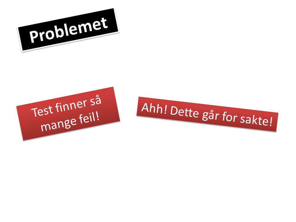 Problemet Test finner så mange feil! Ahh! Dette går for sakte!
