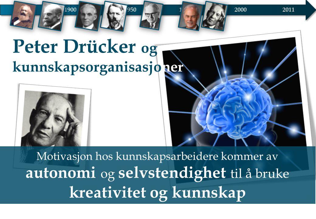 19001950 20002011 1975 Motivasjon hos kunnskapsarbeidere kommer av autonomi og selvstendighet til å bruke kreativitet og kunnskap Peter Drücker og kun