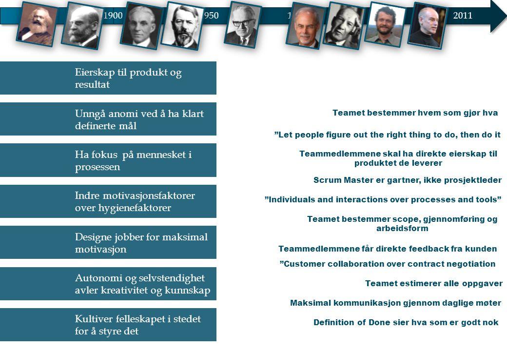 19001950 20002011 1975 Eierskap til produkt og resultat Unngå anomi ved å ha klart definerte mål Ha fokus på mennesket i prosessen Indre motivasjonsfa