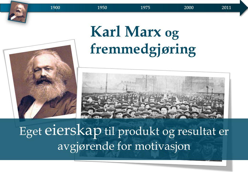 Karl Marx og fremmedgjøring Eget eierskap til produkt og resultat er avgjørende for motivasjon 19001950 20002011 1975