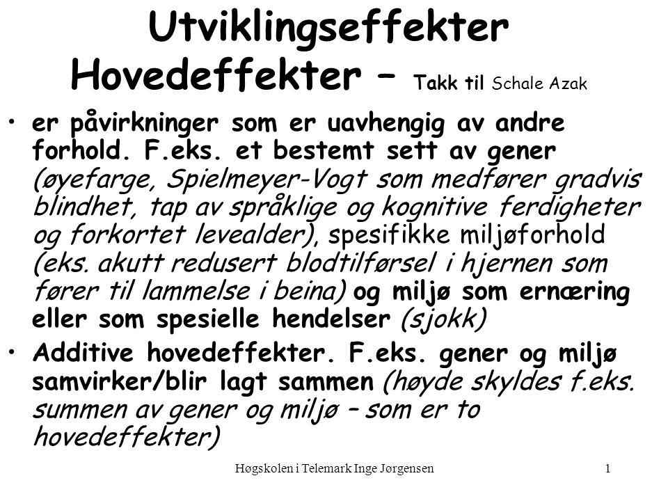 Høgskolen i Telemark Inge Jørgensen2 Utviklingseffekter Interaksjonseffekter når virkningen av ett forhold avhenger av ett eller flere andre forhold.