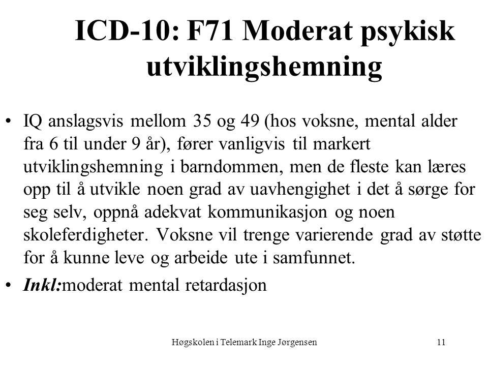 Høgskolen i Telemark Inge Jørgensen11 ICD-10: F71 Moderat psykisk utviklingshemning IQ anslagsvis mellom 35 og 49 (hos voksne, mental alder fra 6 til under 9 år), fører vanligvis til markert utviklingshemning i barndommen, men de fleste kan læres opp til å utvikle noen grad av uavhengighet i det å sørge for seg selv, oppnå adekvat kommunikasjon og noen skoleferdigheter.