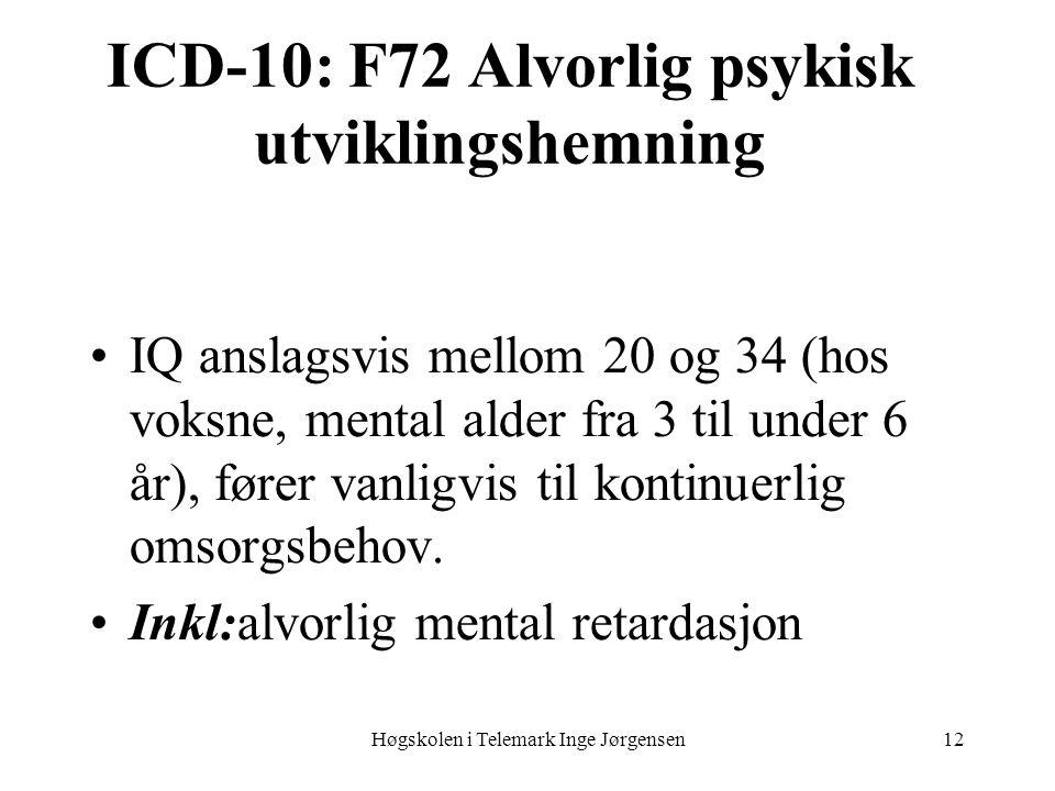 Høgskolen i Telemark Inge Jørgensen12 ICD-10: F72 Alvorlig psykisk utviklingshemning IQ anslagsvis mellom 20 og 34 (hos voksne, mental alder fra 3 til