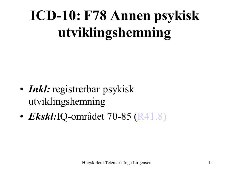 Høgskolen i Telemark Inge Jørgensen14 ICD-10: F78 Annen psykisk utviklingshemning Inkl: registrerbar psykisk utviklingshemning Ekskl:IQ-området 70-85 (R41.8)R41.8)