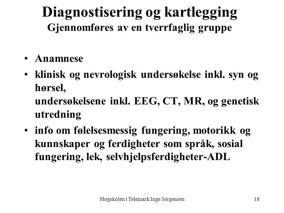 Høgskolen i Telemark Inge Jørgensen18 Diagnostisering og kartlegging Gjennomføres av en tverrfaglig gruppe Anamnese klinisk og nevrologisk undersøkels