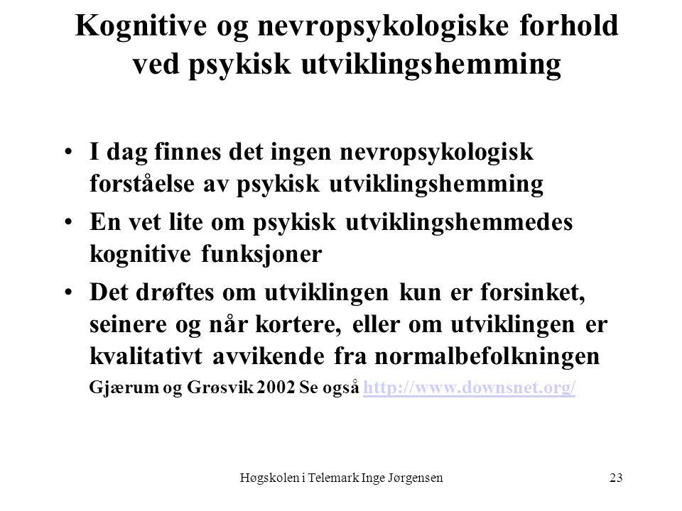 Høgskolen i Telemark Inge Jørgensen23 Kognitive og nevropsykologiske forhold ved psykisk utviklingshemming I dag finnes det ingen nevropsykologisk for