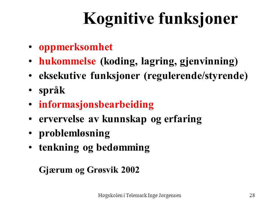 Høgskolen i Telemark Inge Jørgensen28 Kognitive funksjoner oppmerksomhet hukommelse (koding, lagring, gjenvinning) eksekutive funksjoner (regulerende/styrende) språk informasjonsbearbeiding ervervelse av kunnskap og erfaring problemløsning tenkning og bedømming Gjærum og Grøsvik 2002