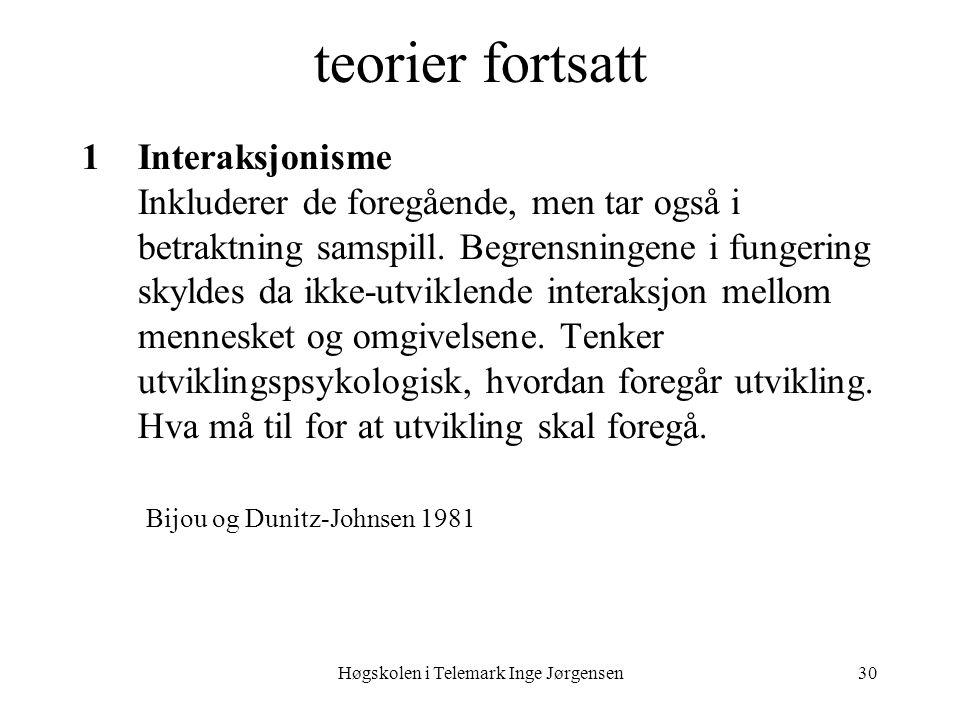 Høgskolen i Telemark Inge Jørgensen30 teorier fortsatt 1Interaksjonisme Inkluderer de foregående, men tar også i betraktning samspill. Begrensningene