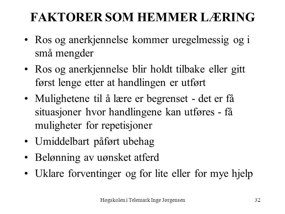 Høgskolen i Telemark Inge Jørgensen32 FAKTORER SOM HEMMER LÆRING Ros og anerkjennelse kommer uregelmessig og i små mengder Ros og anerkjennelse blir