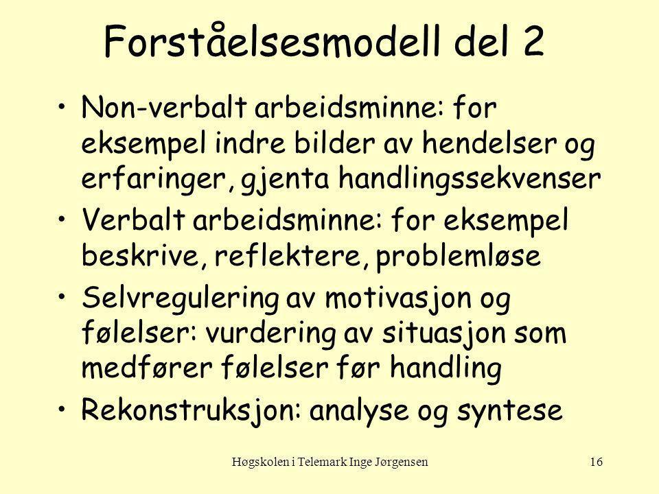 Høgskolen i Telemark Inge Jørgensen16 Forståelsesmodell del 2 Non-verbalt arbeidsminne: for eksempel indre bilder av hendelser og erfaringer, gjenta h