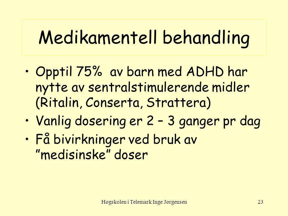 Høgskolen i Telemark Inge Jørgensen23 Medikamentell behandling Opptil 75% av barn med ADHD har nytte av sentralstimulerende midler (Ritalin, Conserta,