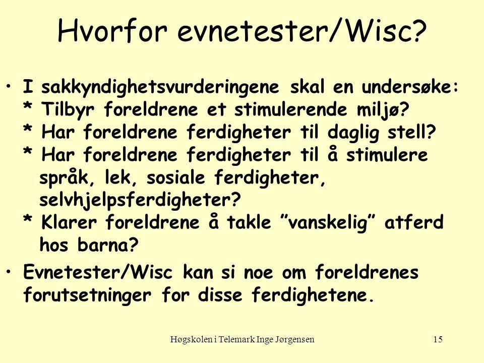 Høgskolen i Telemark Inge Jørgensen15 Hvorfor evnetester/Wisc? I sakkyndighetsvurderingene skal en undersøke: * Tilbyr foreldrene et stimulerende milj