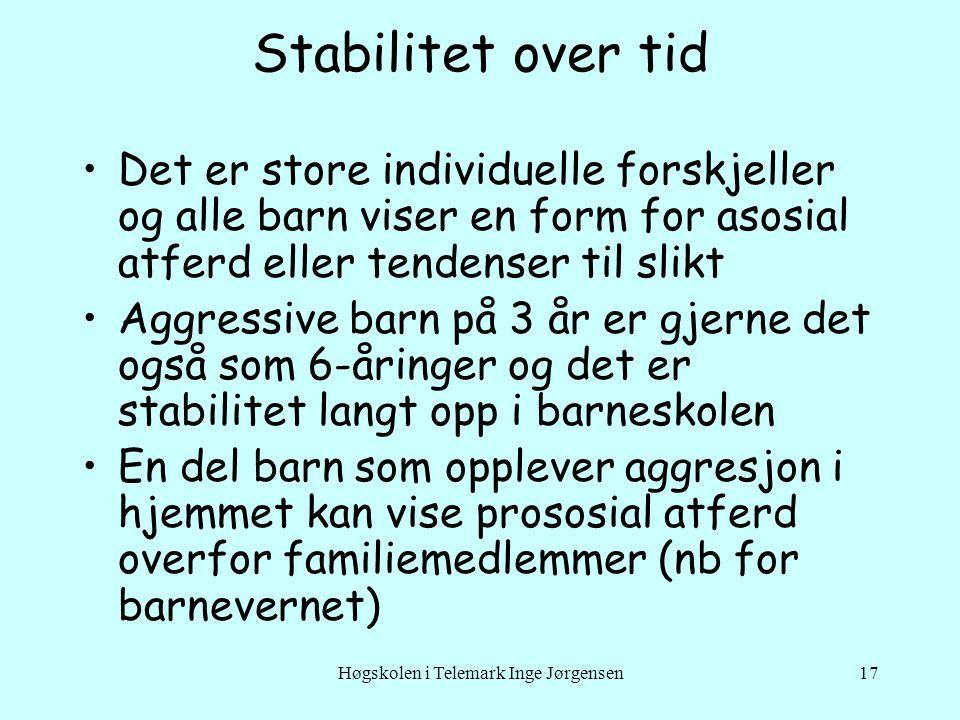Høgskolen i Telemark Inge Jørgensen17 Stabilitet over tid Det er store individuelle forskjeller og alle barn viser en form for asosial atferd eller te