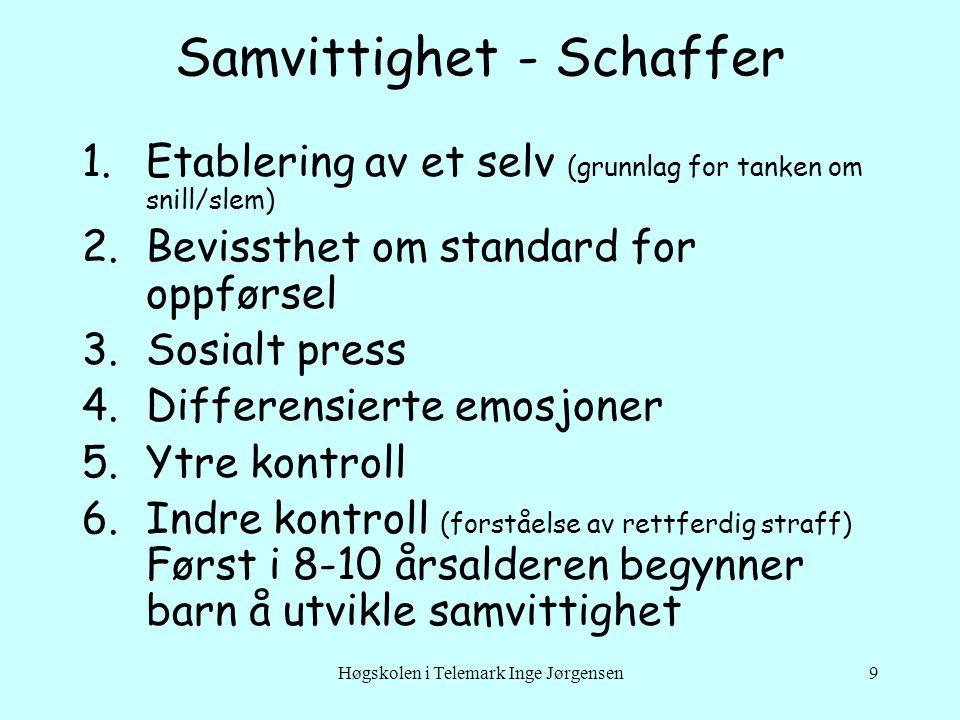 Høgskolen i Telemark Inge Jørgensen9 Samvittighet - Schaffer 1.Etablering av et selv (grunnlag for tanken om snill/slem) 2.Bevissthet om standard for