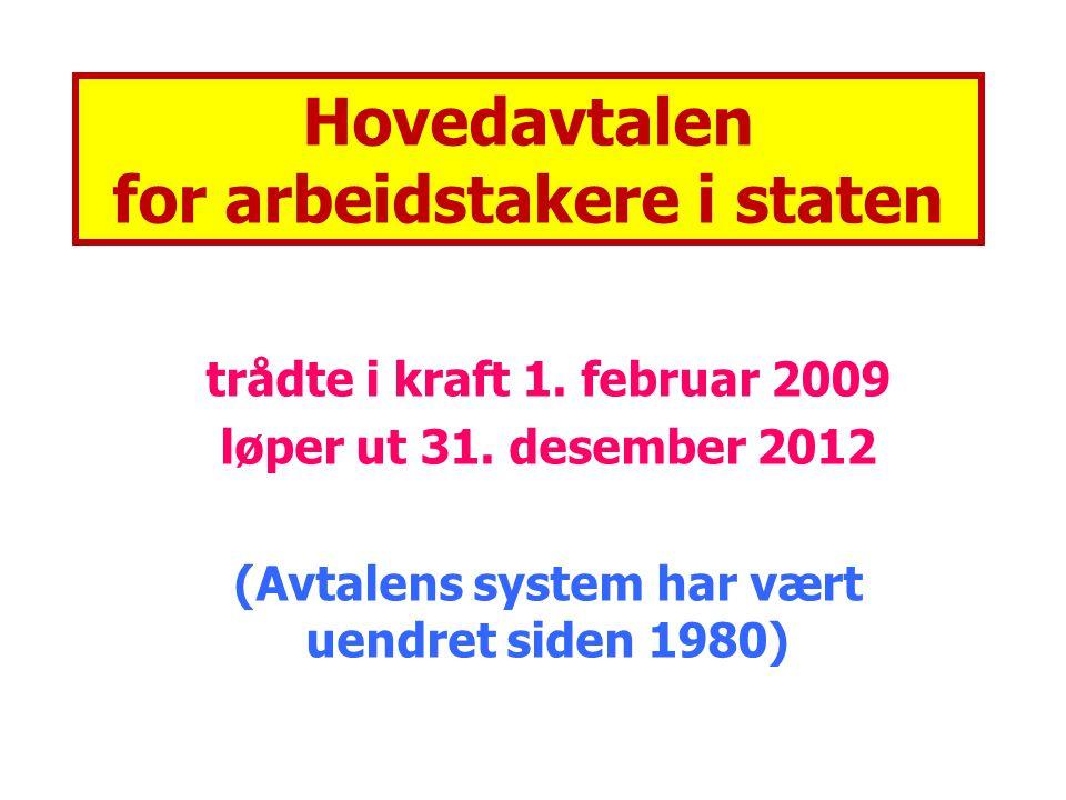 Hovedavtalen for arbeidstakere i staten trådte i kraft 1. februar 2009 løper ut 31. desember 2012 (Avtalens system har vært uendret siden 1980)