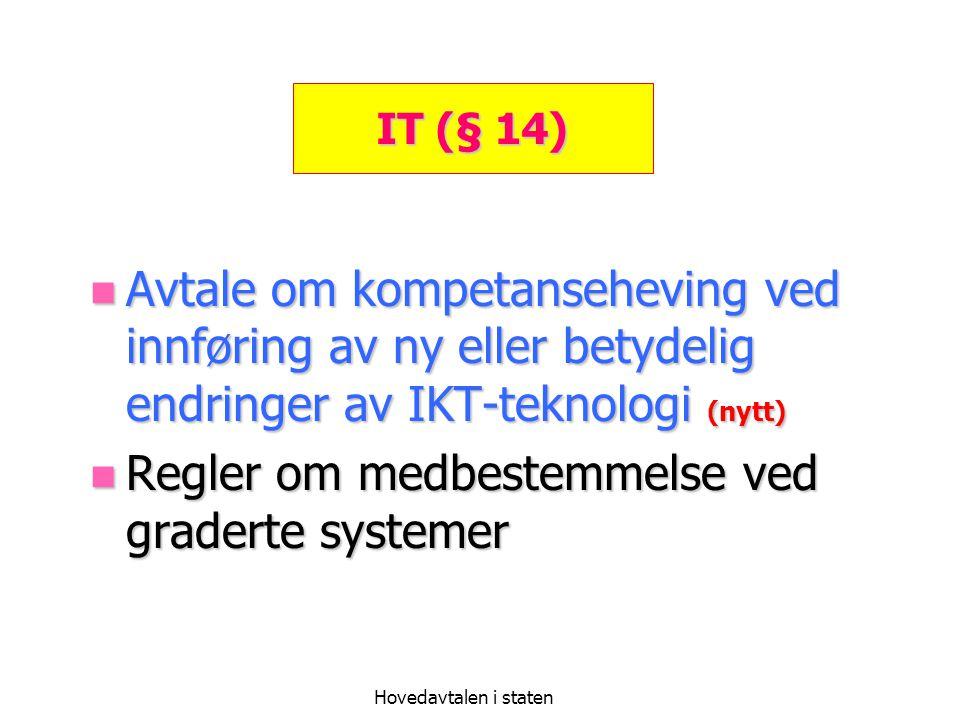 Hovedavtalen i staten IT (§ 14) Avtale om kompetanseheving ved innføring av ny eller betydelig endringer av IKT-teknologi (nytt) Avtale om kompetanseh