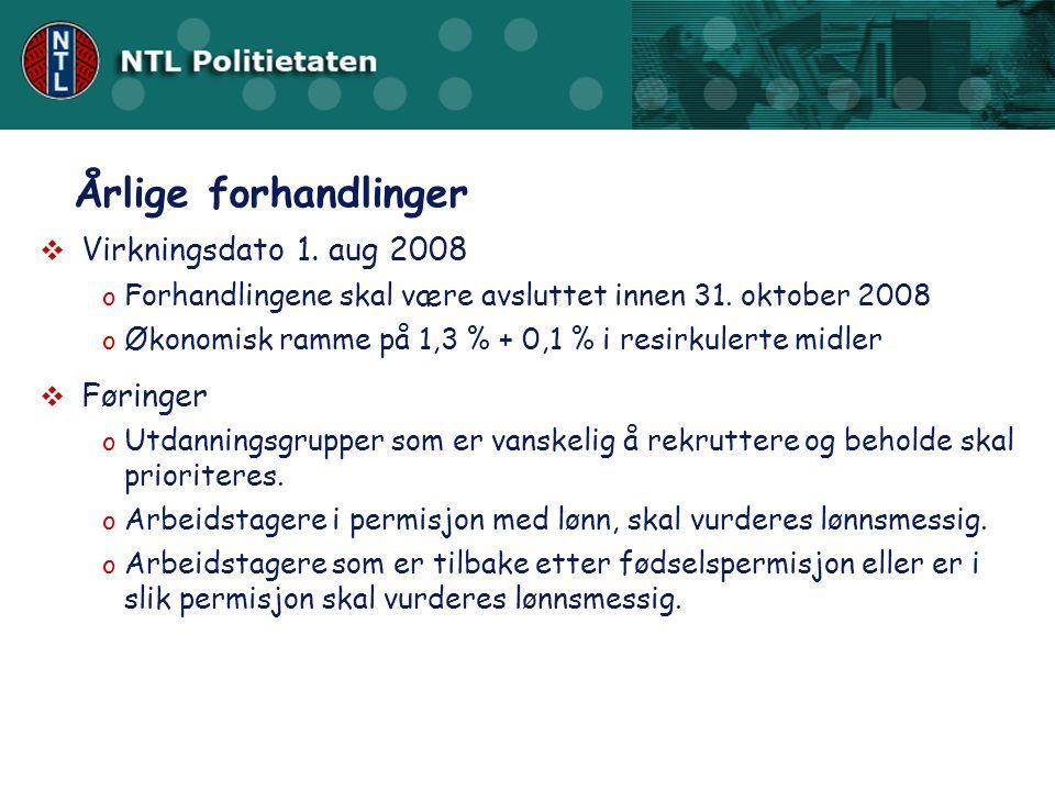  Virkningsdato 1.aug 2008 o Forhandlingene skal være avsluttet innen 31.