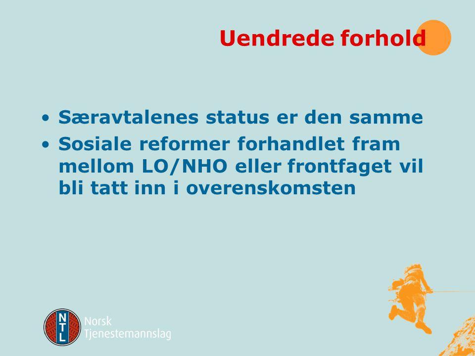 Uendrede forhold Særavtalenes status er den samme Sosiale reformer forhandlet fram mellom LO/NHO eller frontfaget vil bli tatt inn i overenskomsten