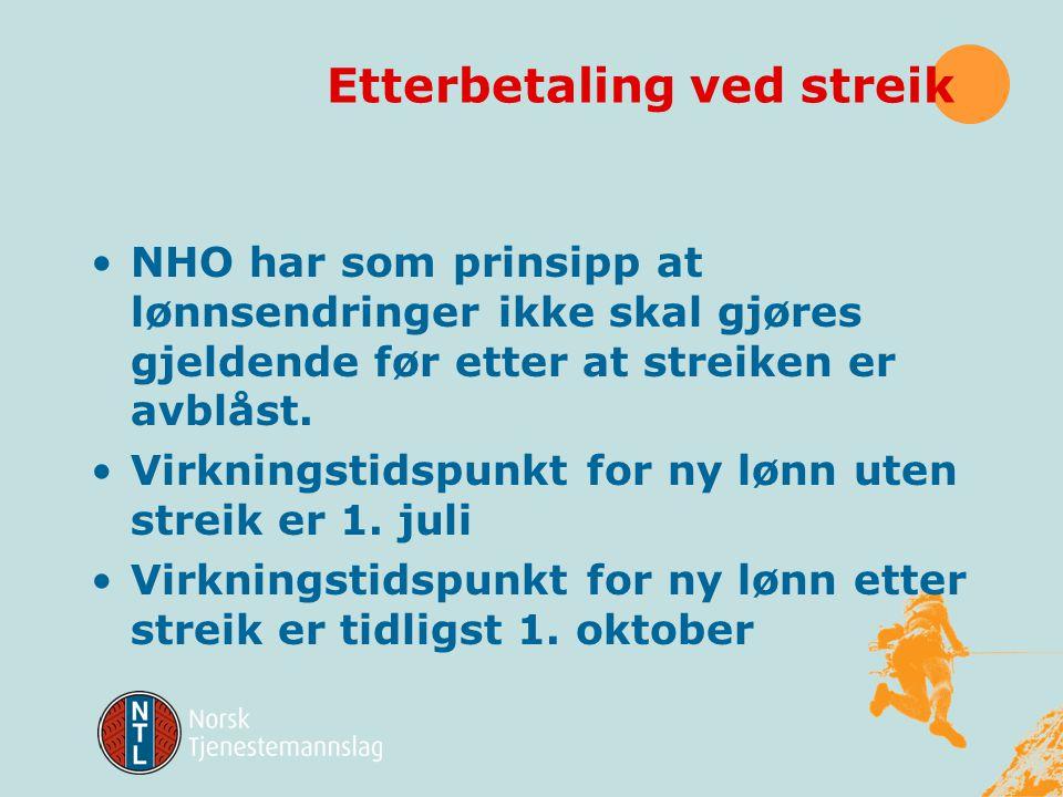 Etterbetaling ved streik NHO har som prinsipp at lønnsendringer ikke skal gjøres gjeldende før etter at streiken er avblåst.