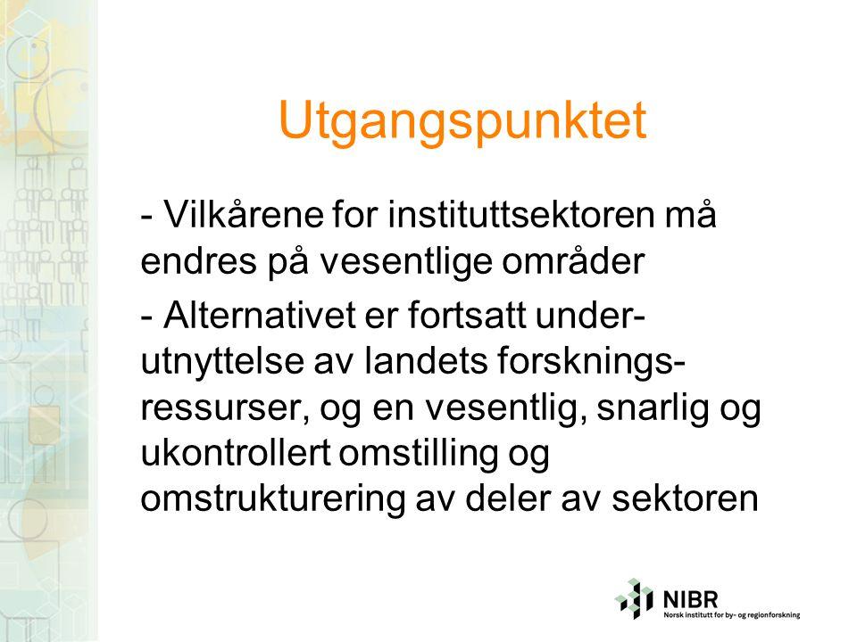 Utgangspunktet - Vilkårene for instituttsektoren må endres på vesentlige områder - Alternativet er fortsatt under- utnyttelse av landets forsknings- ressurser, og en vesentlig, snarlig og ukontrollert omstilling og omstrukturering av deler av sektoren