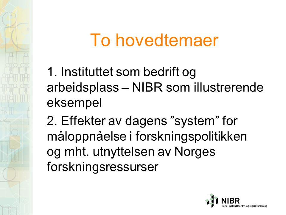 NIBR i dag Enkle fakta som ramme: - 56 forskerårsverk i 2007 - Samlede inntekter: 65 MNOK - Grunnbevilgning under 10 prosent, pluss varierende omfang av SIPer - Timepriser: 800-1000 kr.