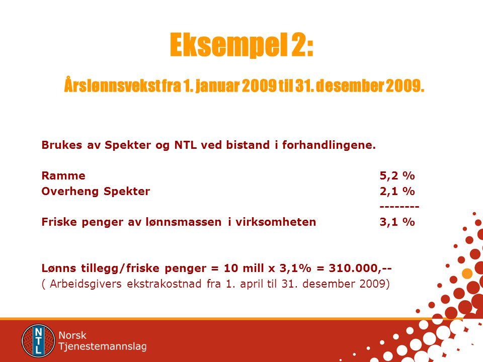 Eksempel 2: Årslønnsvekst fra 1. januar 2009 til 31.