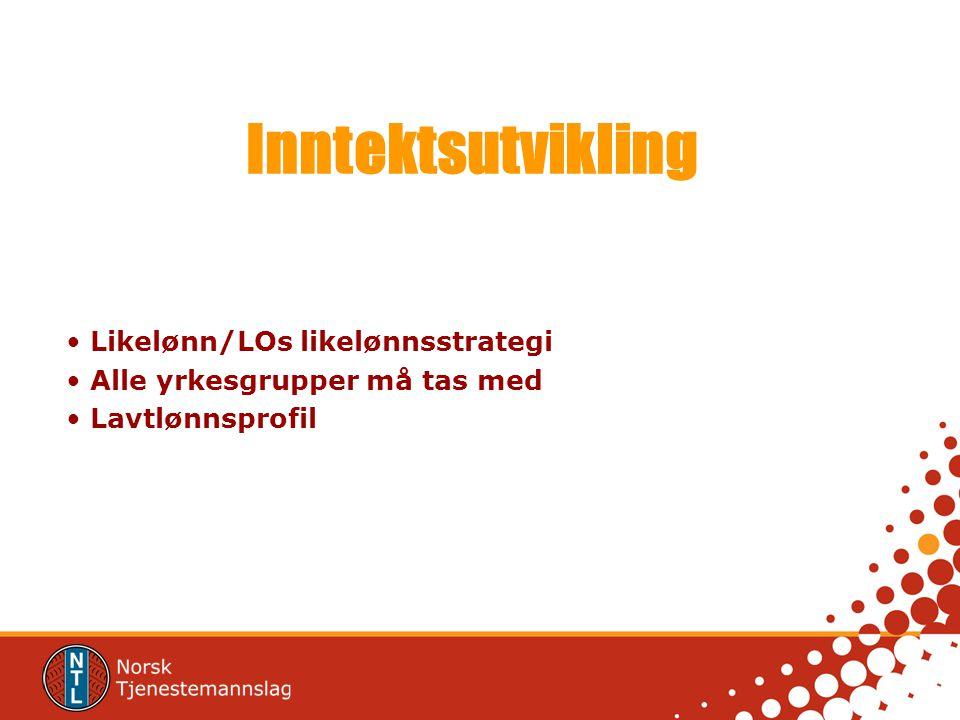 Inntektsutvikling Likelønn/LOs likelønnsstrategi Alle yrkesgrupper må tas med Lavtlønnsprofil