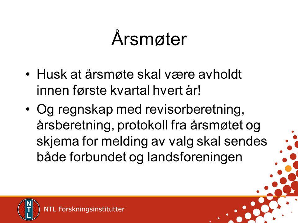 Årsmøter Husk at årsmøte skal være avholdt innen første kvartal hvert år.