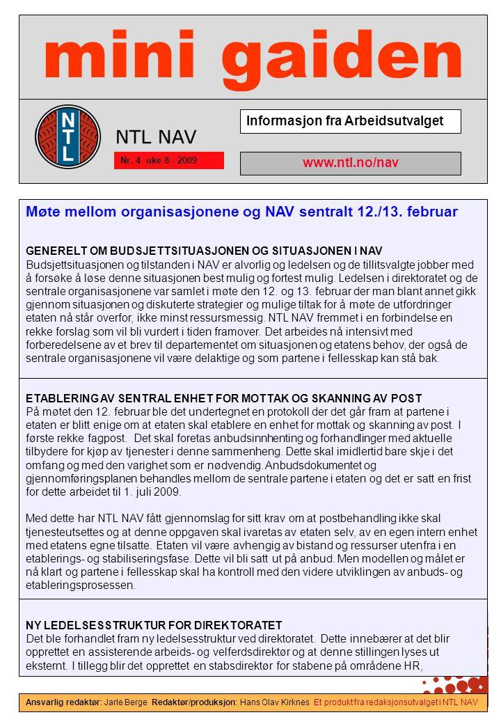 mini gaiden Informasjon fra Arbeidsutvalget Nr.