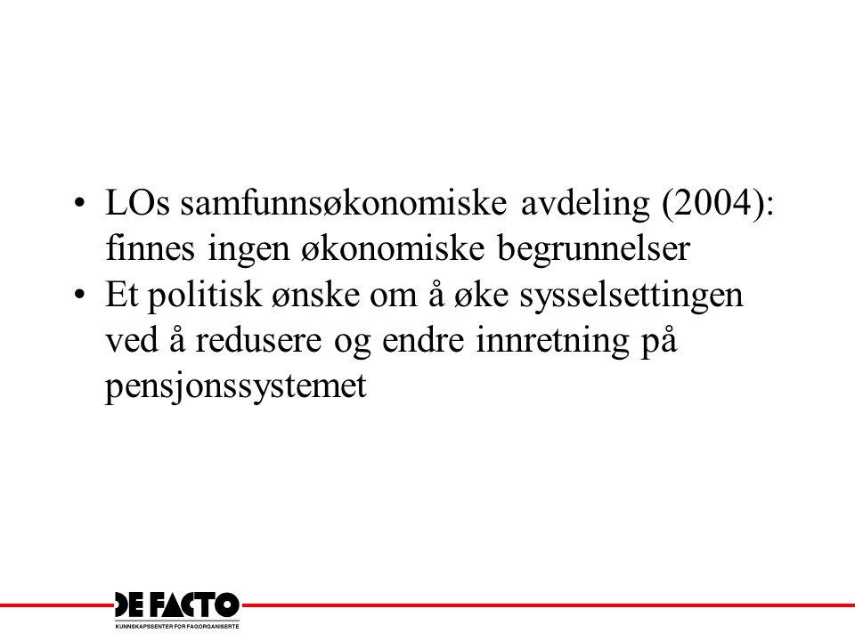 LOs samfunnsøkonomiske avdeling (2004): finnes ingen økonomiske begrunnelser Et politisk ønske om å øke sysselsettingen ved å redusere og endre innret