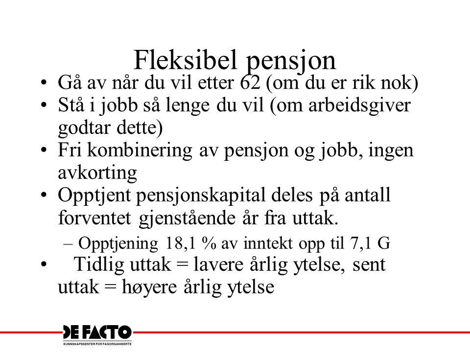 Fleksibel pensjon Gå av når du vil etter 62 (om du er rik nok) Stå i jobb så lenge du vil (om arbeidsgiver godtar dette) Fri kombinering av pensjon og