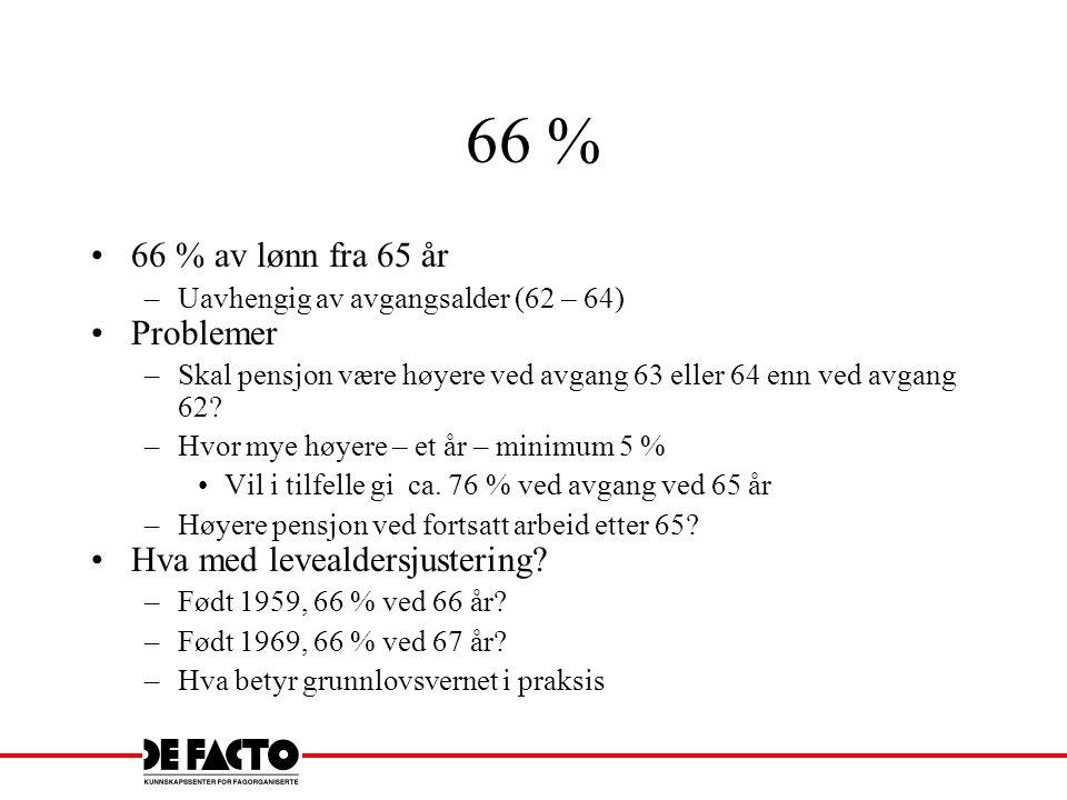 66 % 66 % av lønn fra 65 år –Uavhengig av avgangsalder (62 – 64) Problemer –Skal pensjon være høyere ved avgang 63 eller 64 enn ved avgang 62? –Hvor m