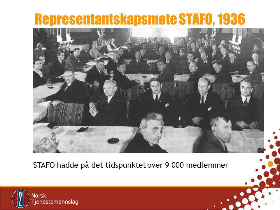 STAFO hadde på det tidspunktet over 9 000 medlemmer Representantskapsmøte STAFO, 1936