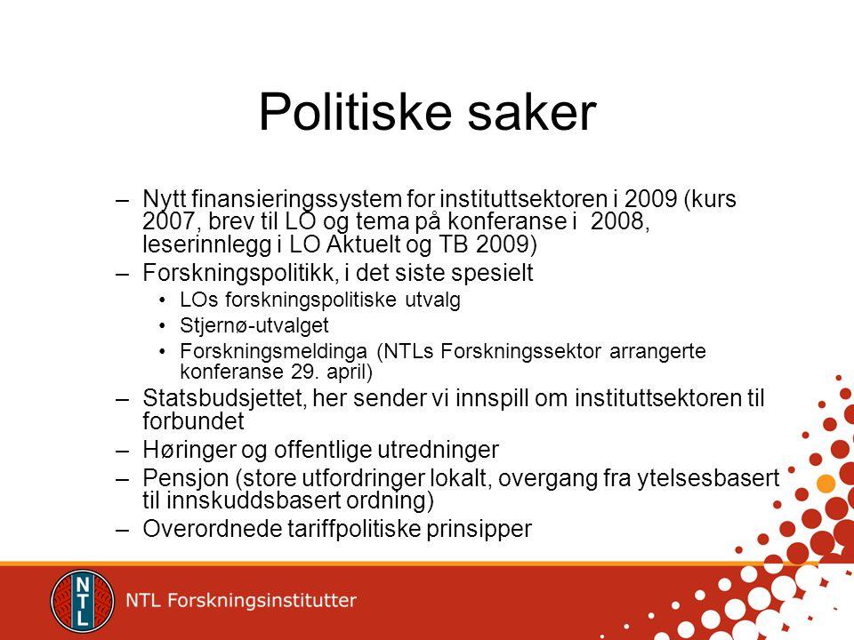 Politiske saker –Nytt finansieringssystem for instituttsektoren i 2009 (kurs 2007, brev til LO og tema på konferanse i 2008, leserinnlegg i LO Aktuelt