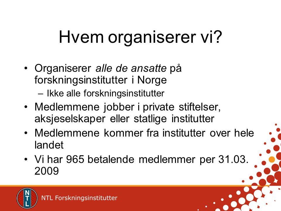Hvem organiserer vi? Organiserer alle de ansatte på forskningsinstitutter i Norge –Ikke alle forskningsinstitutter Medlemmene jobber i private stiftel