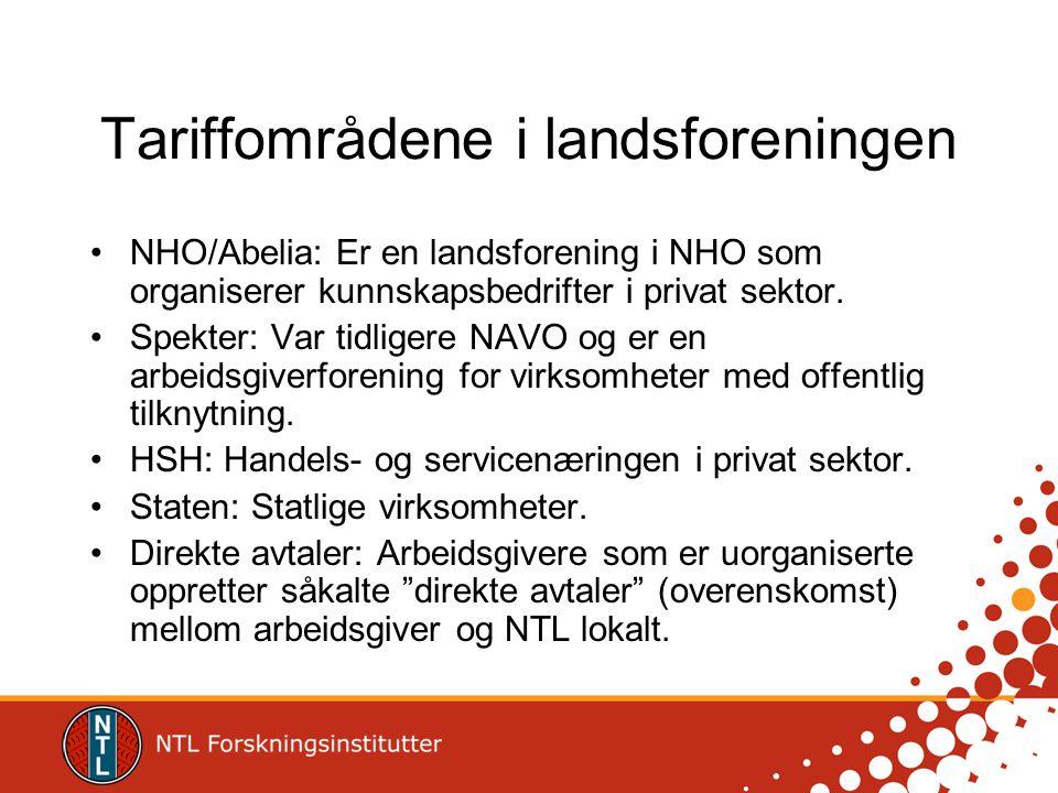 Tariffområdene i landsforeningen NHO/Abelia: Er en landsforening i NHO som organiserer kunnskapsbedrifter i privat sektor. Spekter: Var tidligere NAVO