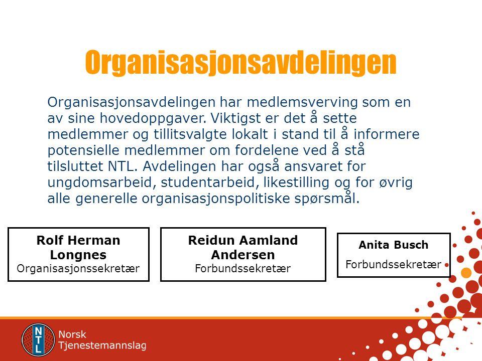 Organisasjonsavdelingen Rolf Herman Longnes Organisasjonssekretær Reidun Aamland Andersen Forbundssekretær Anita Busch Forbundssekretær Organisasjonsa