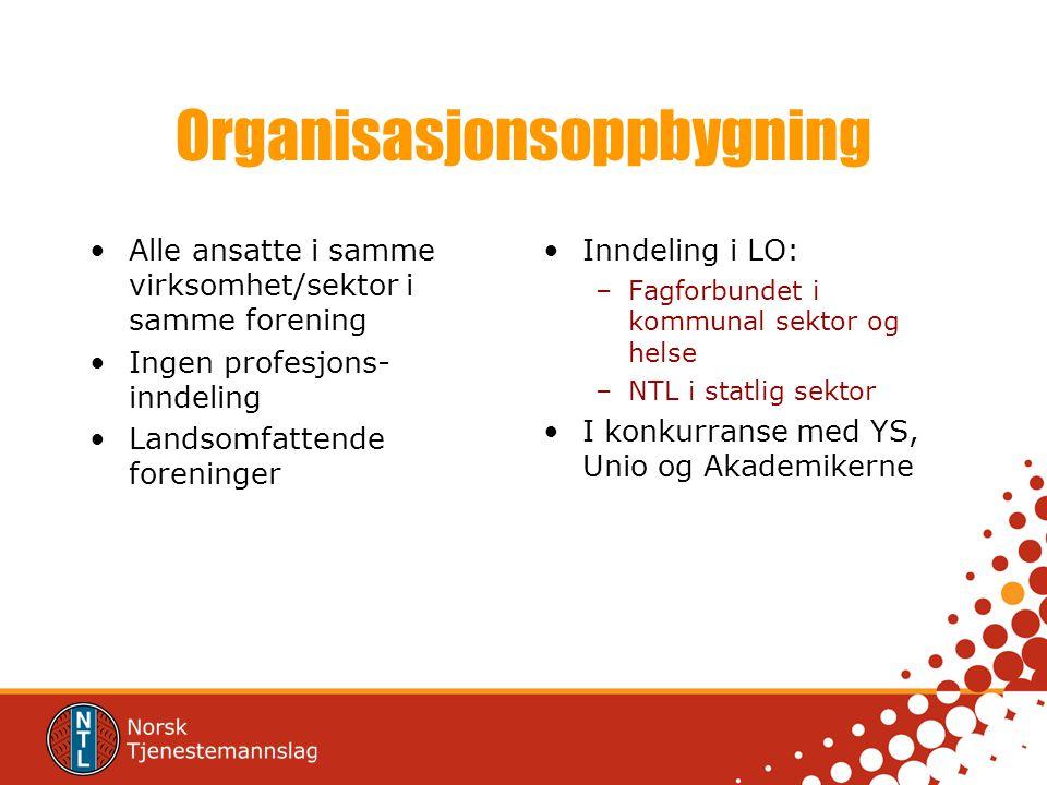 Organisasjonsoppbygning Alle ansatte i samme virksomhet/sektor i samme forening Ingen profesjons- inndeling Landsomfattende foreninger Inndeling i LO: